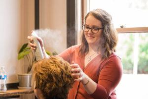 hair stylist and customer